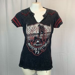 Affliction Distressed Red Black Graphic T Shirt S
